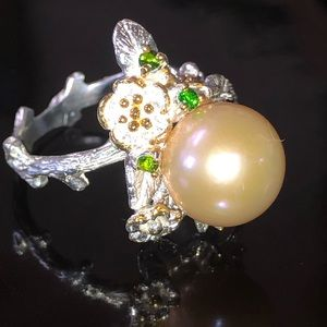 Stunning Genuine Creamy Pink Pearl Ring